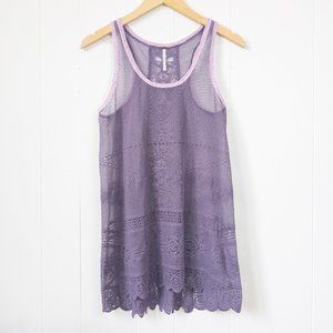 Free People Lace Tank Top w/ Crochet Detail Small